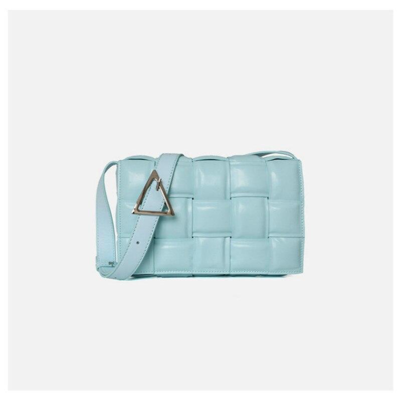 Cow Leather Women Bag 2019 Women Bag New Fashion Cassette Stitching Small Square Bag Plaid Bread Leather Handbag