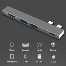 5 in 1 USB-C Adapter with 2 USB 3.0 Ports SD Memory Reader Type-C USB 3.0 Hub For New Macbook Pro Air 2018 USB-C new usb 3 0 2 ports usb 3 1 type c front panel usb hub with 20 pin connector adapter cable em88