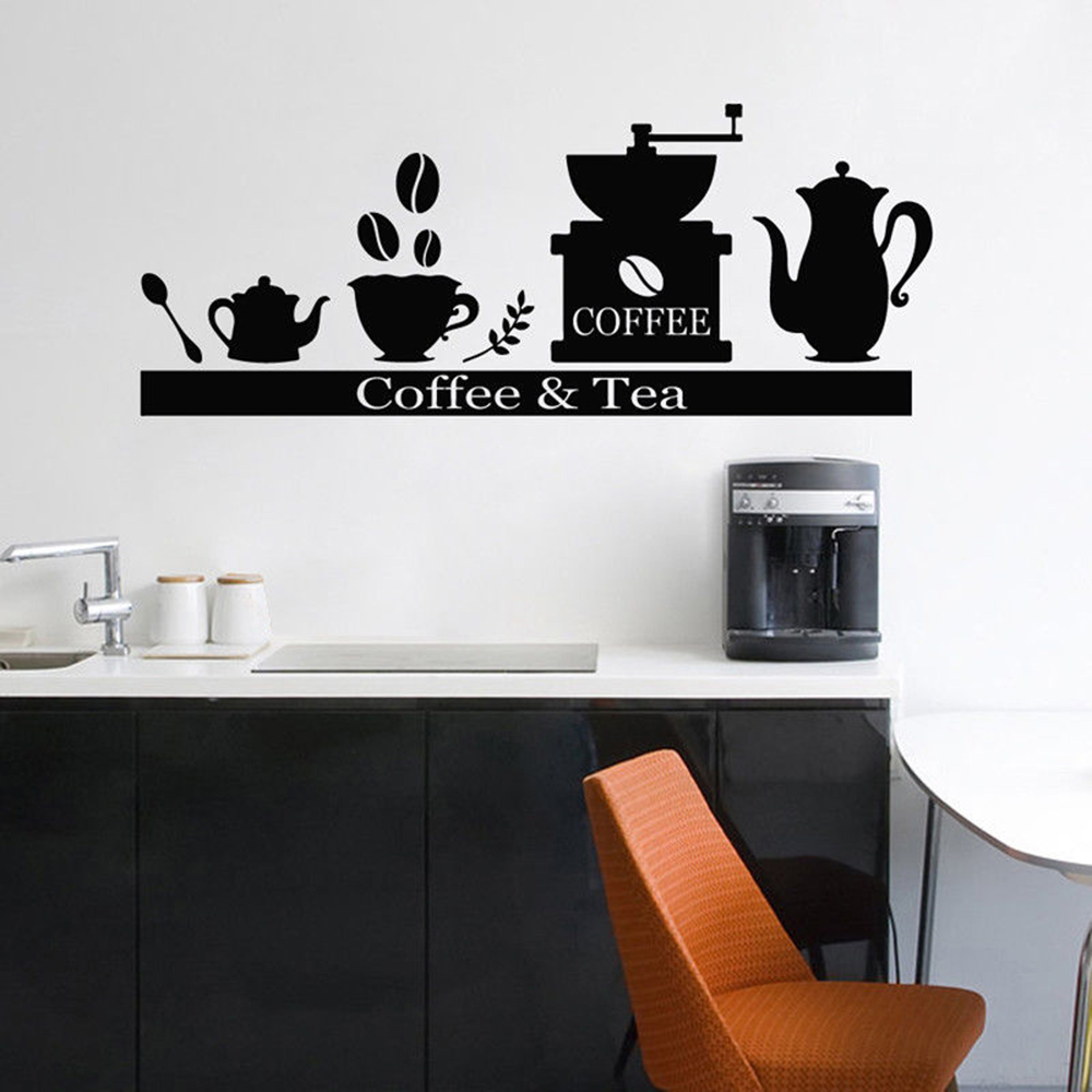 Coffee Tea Wall Stickers Kitchen Coffee Machine Shelf Cartoon Pattern Decor Cafe Bakery Vinyl Shop Window Decals Ornament Y756