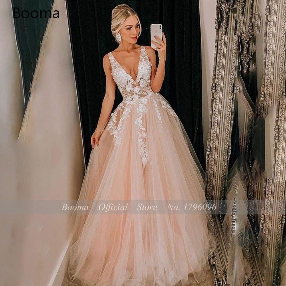 Booma Pink Beach Wedding Dresses Deep V-Neck Lace Applique Illusion Bride Dresses Open Back Spaghetti Straps A-Line Wedding Gown