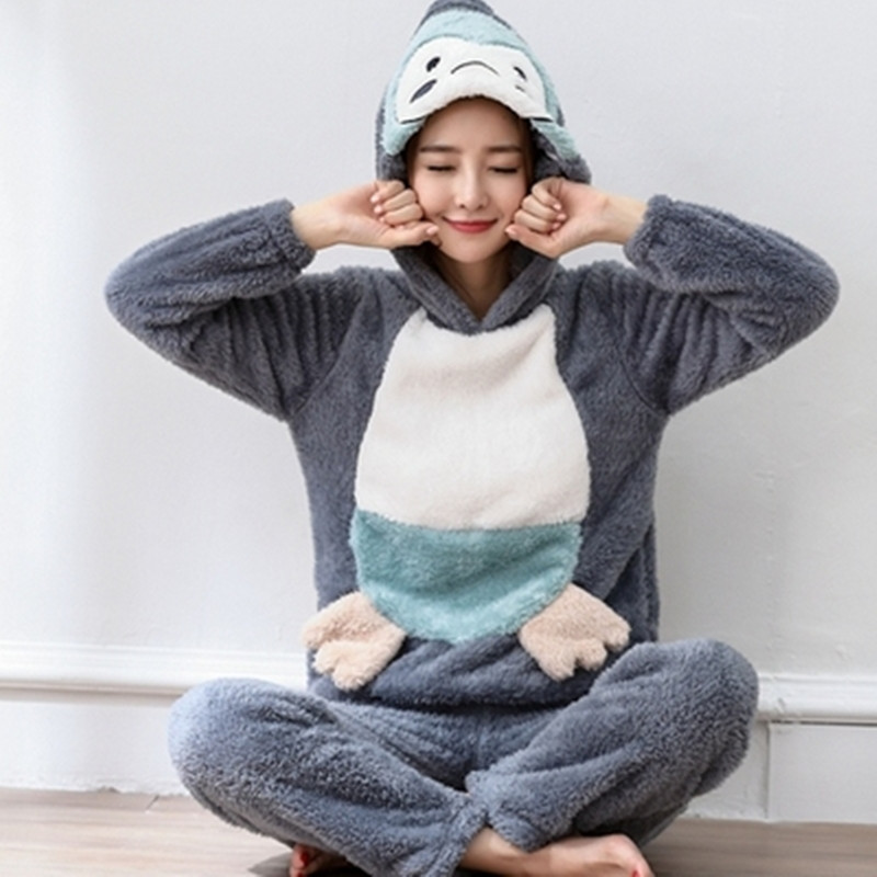 Plus Size S-4XL 6XL Flannel Pajamas Sets Winter Women Thick O-neck Large Lover Sleepwear Women Cartoon Coral Fleece Lounge Set