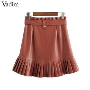 Image 3 - Vadim ผู้หญิง Chic PU หนังกระโปรง ruffles Bow Tie sashes กระเป๋าซิปจีบหญิง Basic MINI กระโปรง mujer BA779