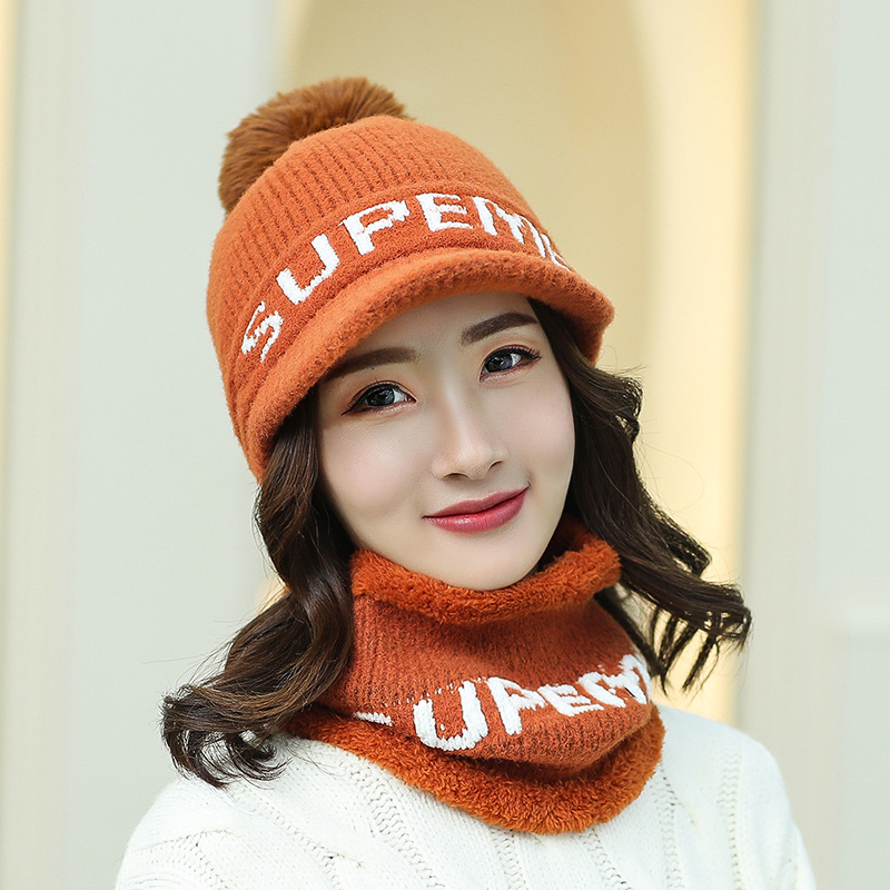 Kitted Winter Hat And Ring Scarf Set Women Classic Plus Thick Unisex  Pom Pom Ball Winter Warm Hats Scarves Women Hat Female Set