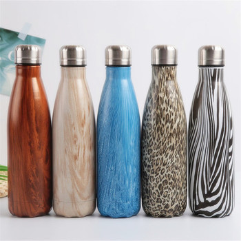 Leopard Wood Water Bottle Stainless Steel Thermos Vacuum Flask Insulated Heat Cold Coffee Cup Travel Mug Kids Gym Drink Bottle 2