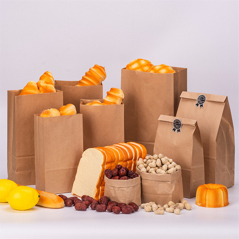 100pcs High Quality Kraft Paper Bags Food Tea Small Gift Bags Sandwich Bread Bags Party Wrapping Gift Takeout Eco-friendly Bag