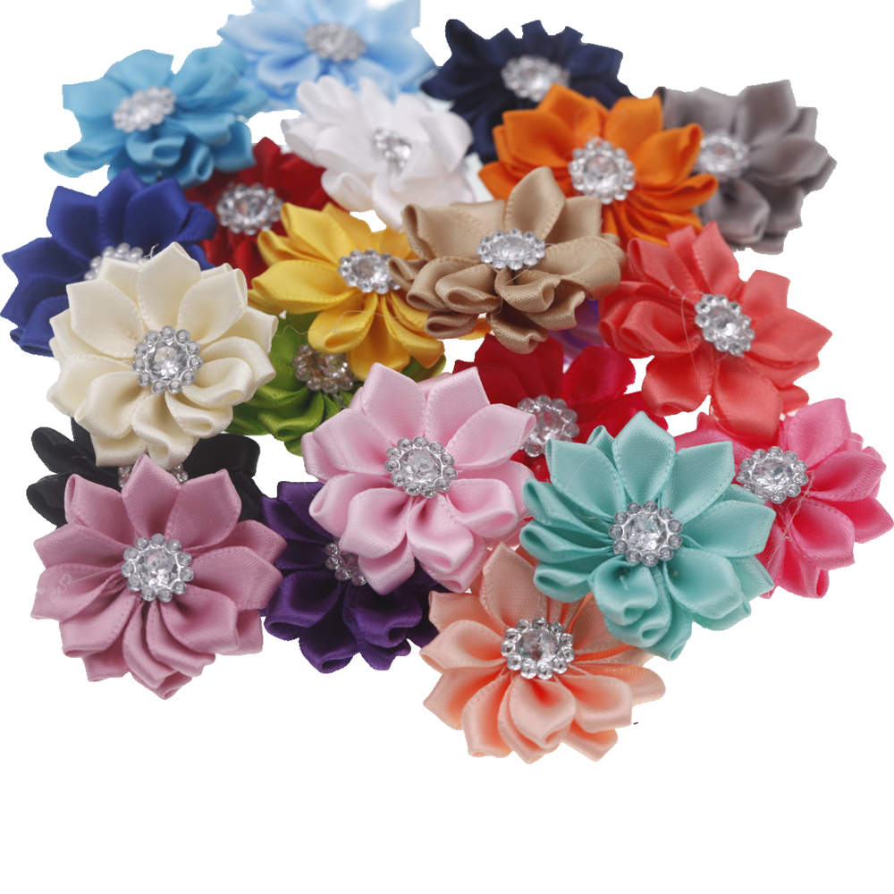 3.8cm Baby Mini DIY Flowers Accessory Satin Ribbon Without Headband No Clips Christmas Wedding Girls Hair Accessories 20pcs/lot