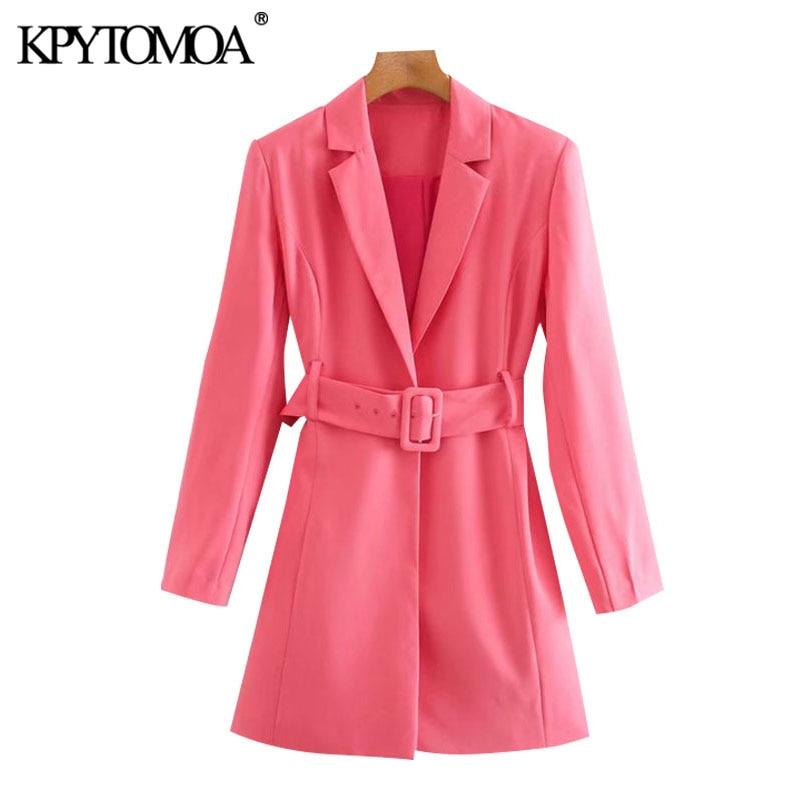 KPYTOMOA Women 2020 Chic Fashion Office Wear Suits Style Mini Dress Vintage Long Sleeve With Belt Female Dresses Vestidos Mujer