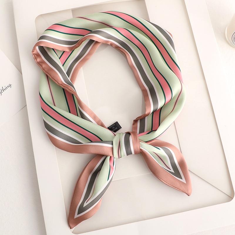 2020 Handkerchief Stripe Skinny Scarf Print Women Silk Scarf Small Handle Bag Ribbons Female Head Scarves  Sharp Angle Foulard
