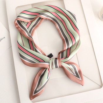 2020 Handkerchief stripe Skinny Scarf Print Women Silk Scarf Small Handle Bag Ribbons Female Head Scarves  Sharp angle Foulard men mixed print skinny scarf