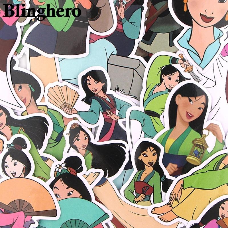 CA642 21pcs / Set Hua Mulan Scrapbooking Stickers Decals For Guitar Laptop Luggage Car Fridge Graffiti Stickers
