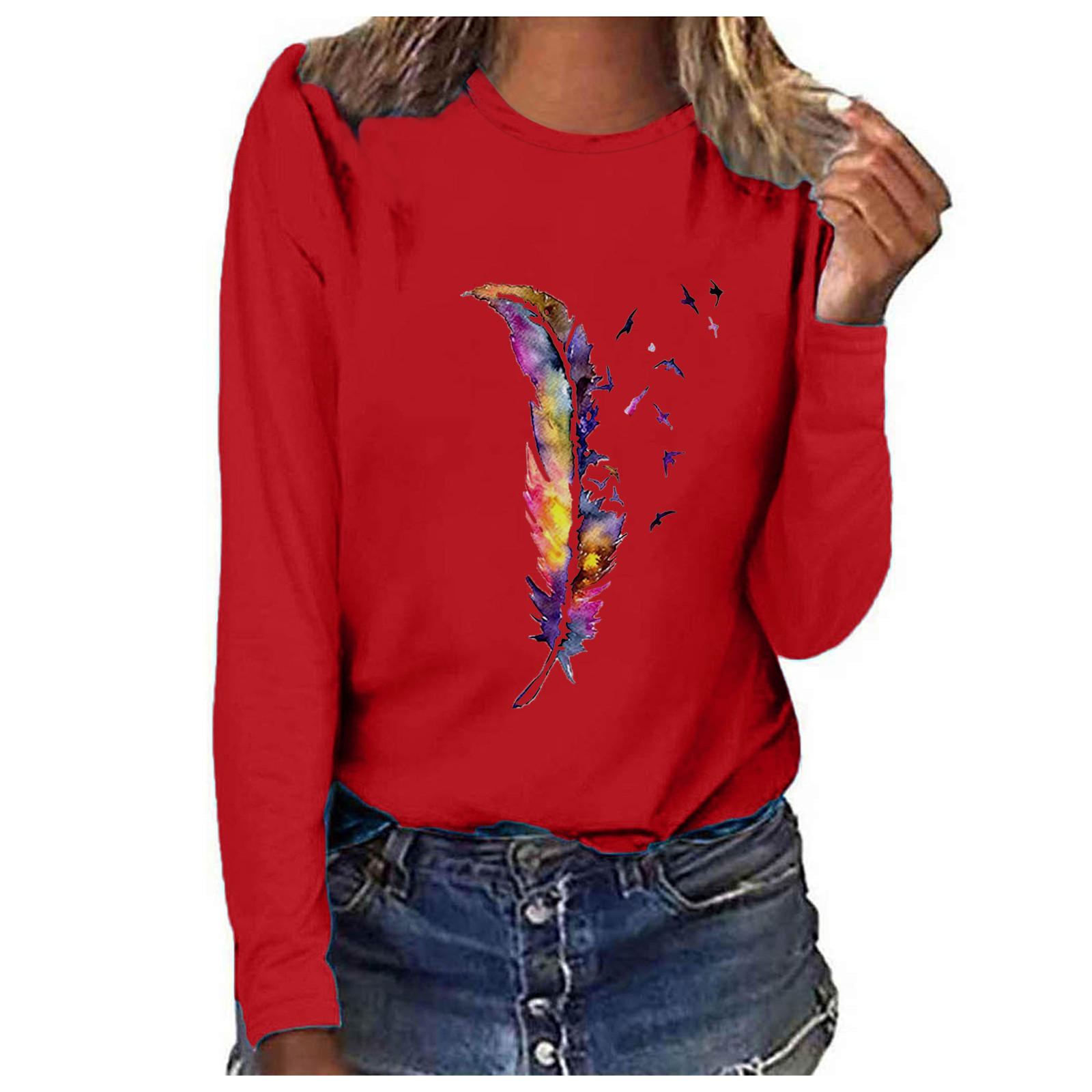 Vintage Floral Print Pullover Tops Women Oversized Long Sleeve Blouses Autumn O-neck Female Loose Tees Shirt Blusas Tops d4