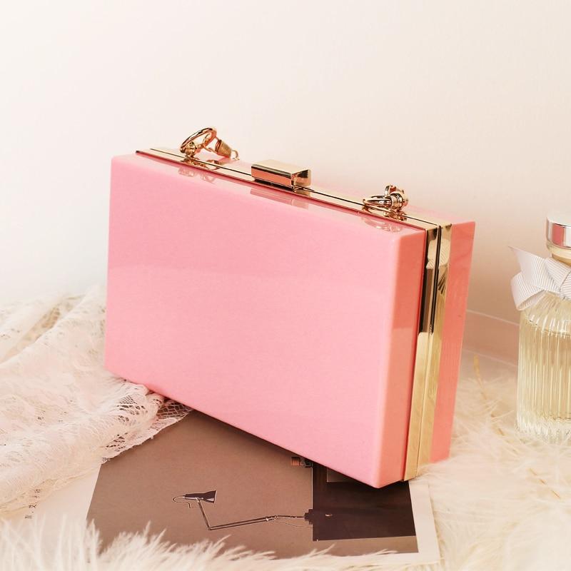 New Acrylic Transparent Women Clutch Bag Chain Luxury Brand Women Messenger Bag Evening Bag Handbag Chain Shoulder Bag