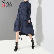 Novo 2020 Estilo Coreano Da Forma Das Mulheres Azul Marinho Vestido Camisa Manga Comprida Cascata Ruffle Senhoras Elegantes da Festa Vestido Midi Robe 3807