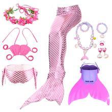 Kız denizkızı kuyruğu yüzgeçleri Monofin Flipper kostümleri Mermaid yüzme kuyrukları çocuklar kızlar için Cosplay Bikini aşınma mayolar