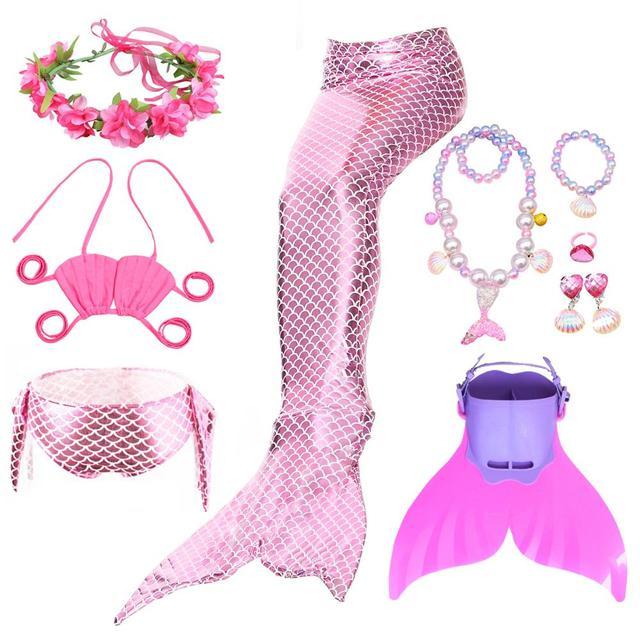 여자의 인어 꼬리 지느러미 Monofin 플리퍼 의상 인어 수영 꼬리 아이들을위한 여자 코스프레 비키니 착용 수영복