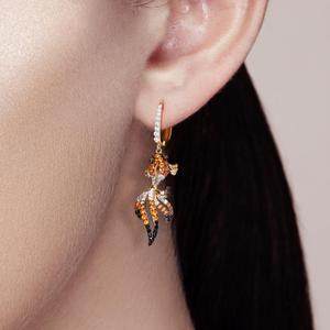 Image 5 - SANTUZZA כסף זהב דגי עגילים לנשים 925 כסף סטרלינג להתנדנד עגילי מעוקב Zirconia brincos תכשיטים