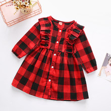 Baby Girls Christmas Dress Plaid Print Round Neck Ruffled Long Sleeve Single-breasted Shirt Dress One-Piece Outfits(China)