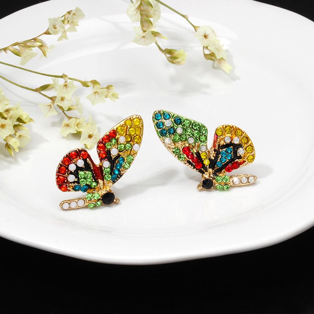 Fashion Colorful Crystal Rhinestone Butterfly Wedding Earrings For Women Bride Shellhard Statement New Design Butterfly Earrings in Stud Earrings from Jewelry Accessories