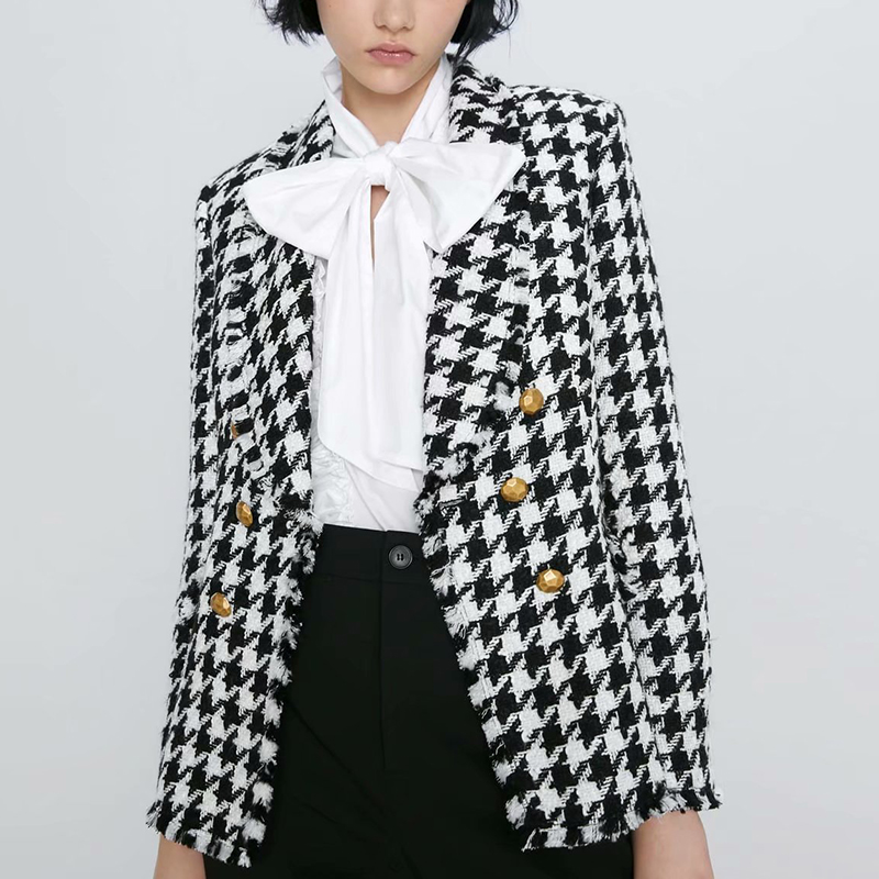Stylish Houndstooth Double Breasted Blazer Coat Women Autumn Fashion Long Sleeve Frayed Trims Outerwear Chic Plaid Tops