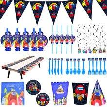 Impostor festa de aniversário decoração puxar bandeiras impostor bolo cartão bandeja copo de papel utensílios de mesa suprimentos crianças brinquedos dos desenhos animados presente