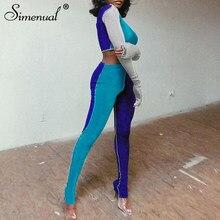 Simenual – ensemble sportif deux pièces Patchwork pour femmes, manches longues, entraînement, mode moulante, vêtements actifs, haut et leggings