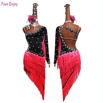 Latin Dance Dress Shiny Rhinestone red Fringed Competition Dresses Salsa Rumba Chacha Samba Stage Show Wear Lady