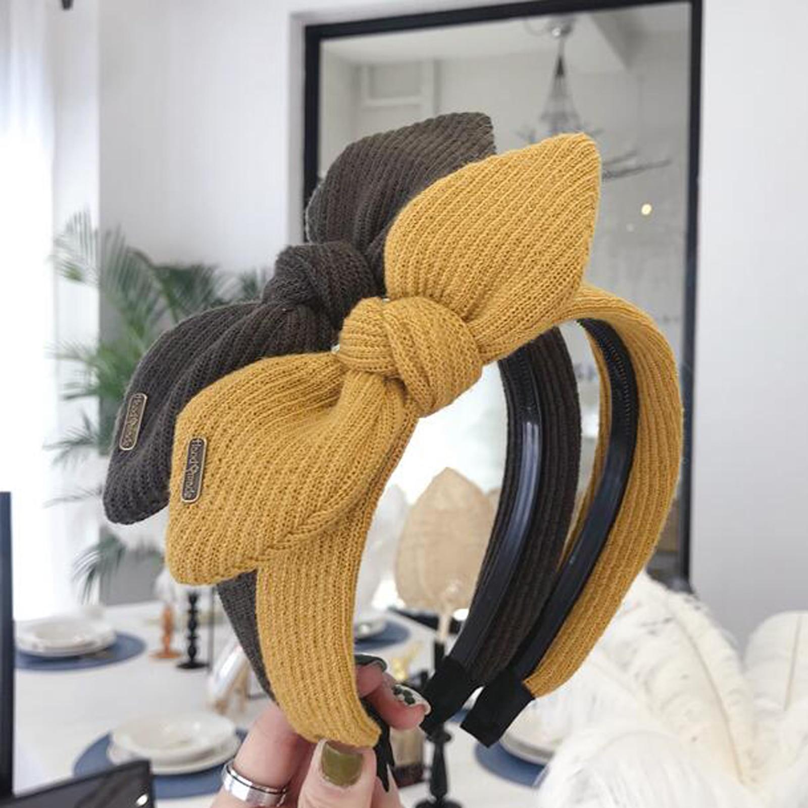 New Fashion Women Hairband Knitted Headband Big Bow Knot Headwear Rhinestone Hair Band Girls Turban Hair Accessories