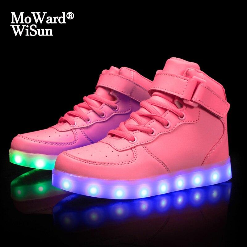 Taille 25-40 chargeur USB pour enfants | Chaussures de sport lumineuses et scintillantes pour garçons et filles  chaussures éclairées avec semelle lumineuse  bleu