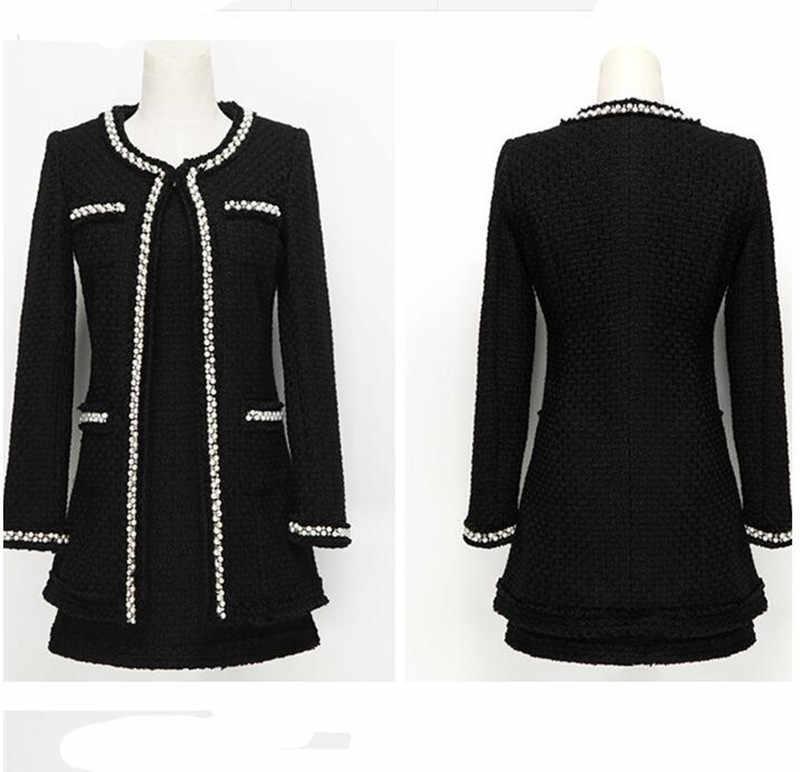 Sukienka garnitury kobiety Runway projektanci mody elegancki biurowa, damska formalne Tweed żakiet z dzianiny dresowej białe czarne koraliki 2 sztuka zestaw strój