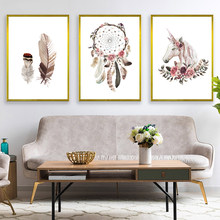 Feather Horse Dream Catcher Posters And Prints Vintage Print Painting Nordic Canvas Posters Wall Pictures For Bedroom Decoration