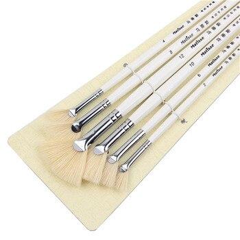 6pcs/Set, sector oil Painting Brush pig 's bristles Hair artist Drawing Art Supplies painting brushes brush - discount item  71% OFF Art Supplies