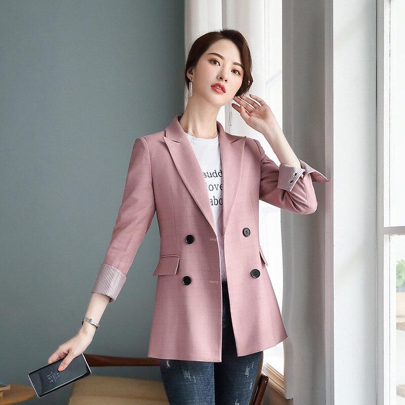 Повседневное шерстяные пальто для темпераментных пиджак 2019 Новая розовая рубашка в клетку с длинными рукавами Для женщин куртка свободные ...