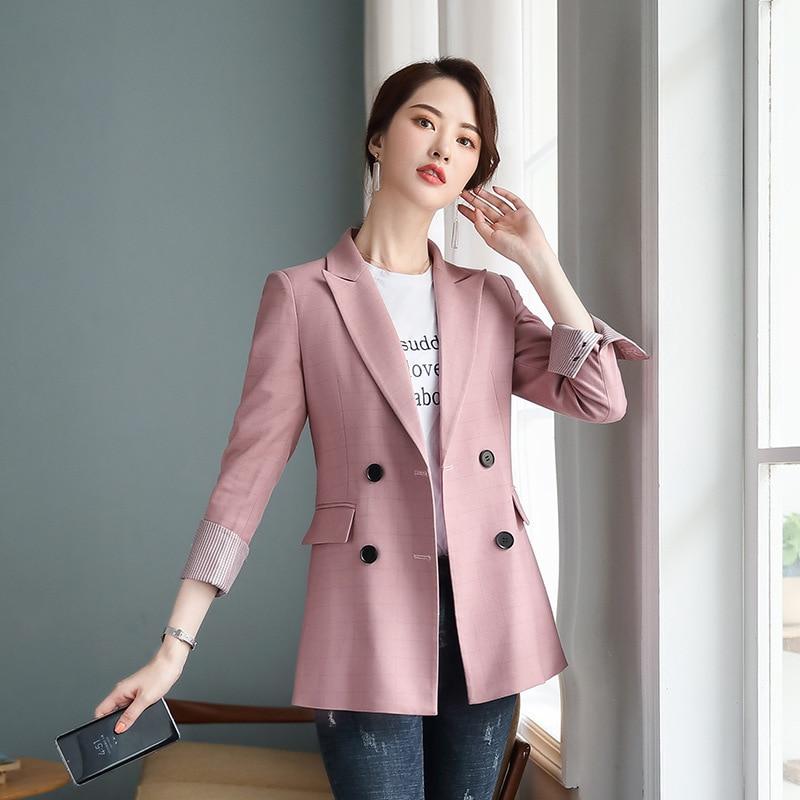 Casual temperament ladies blazer 2019 new pink plaid long-sleeved women's jacket loose large size Office suit Women's suit