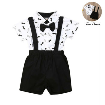 Costume for Baby Boys Suits Formal Children Fantasy Boy Child Suit Bow Dress Shirts Bodysuit+Overall Wedding Wear Child Clothing kid casual blazers suit for baby boy black child coat fashion children jacket costume for boy blue graduation suit h006
