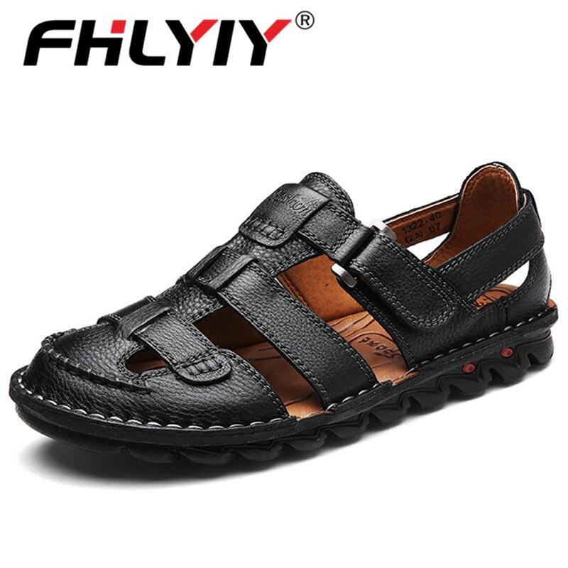 Fhlyiy クラシック高品質牛革サンダル屋外手作り男性サンダルファッション快適な男性革靴