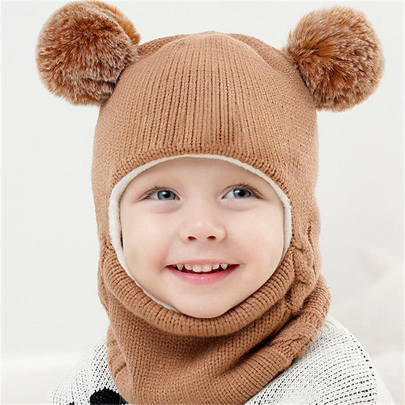 Cute Winter Baby Hat Scarf Suit Pompom Kids Hats Scarves Warmer Children Hats Scarf Set Knitted Caps Scaves For Girls Boys