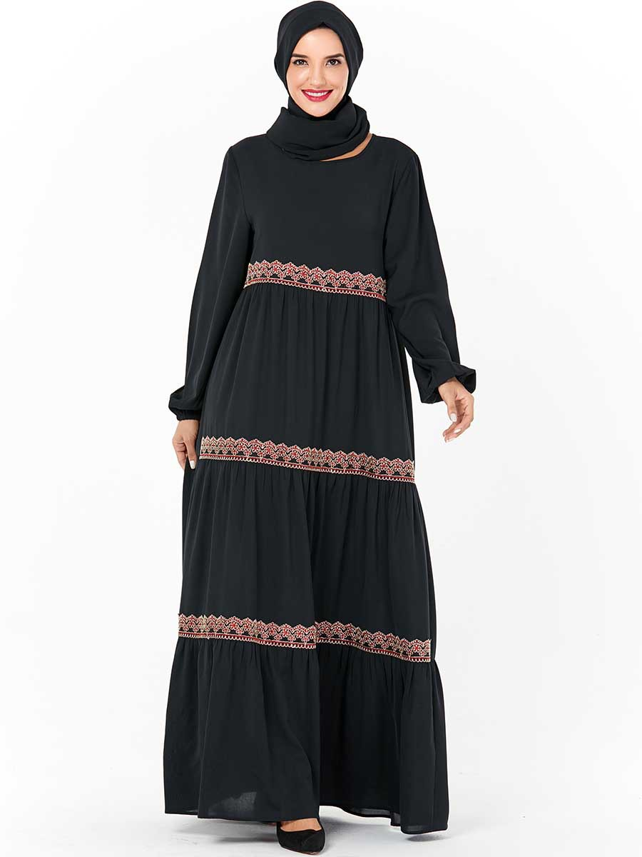 Islamic Clothing Dubai Muslim Moroccan Abaya Dress Women Jubah Caftan Big Swing A-line Hijab Dresses Turkey Kimono Plus Size