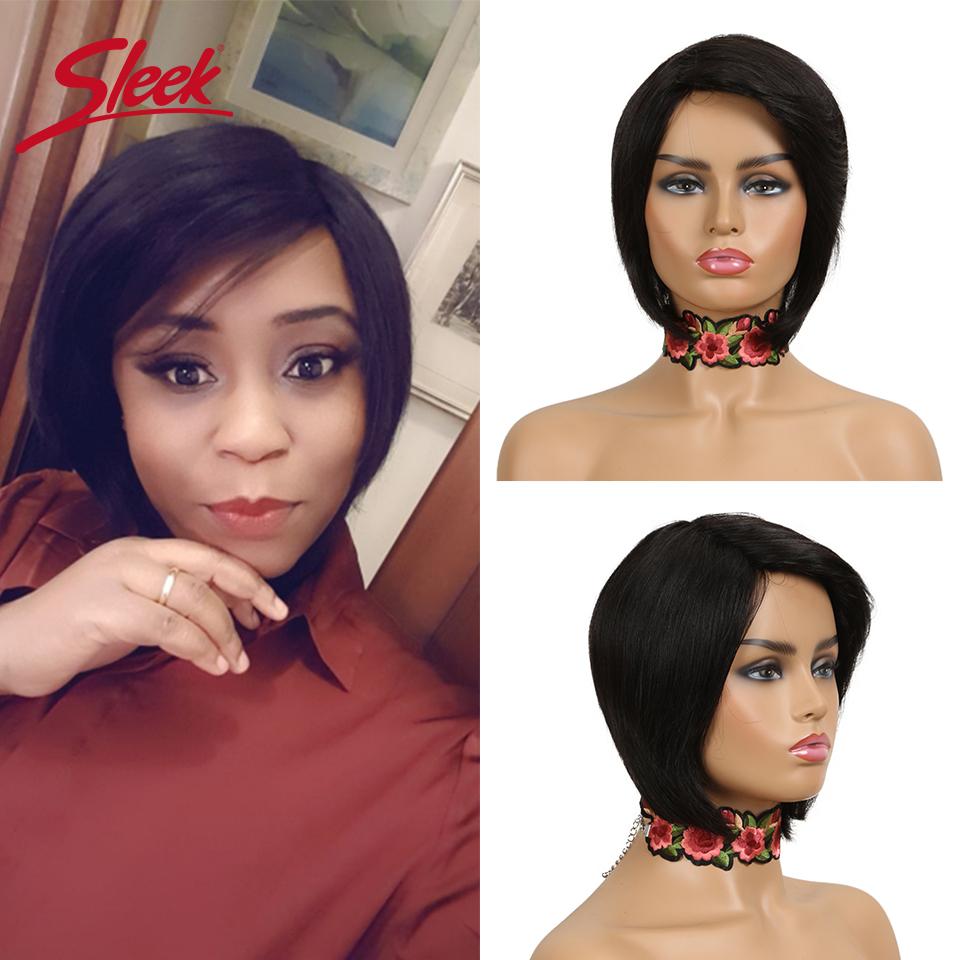 Sleek Short Wig 100% Remy Brazilian Pixie Cut Wig Cheap Short Human Hair Wigs Straight TT1B/27 Ombre Wigs For Black Women Fast