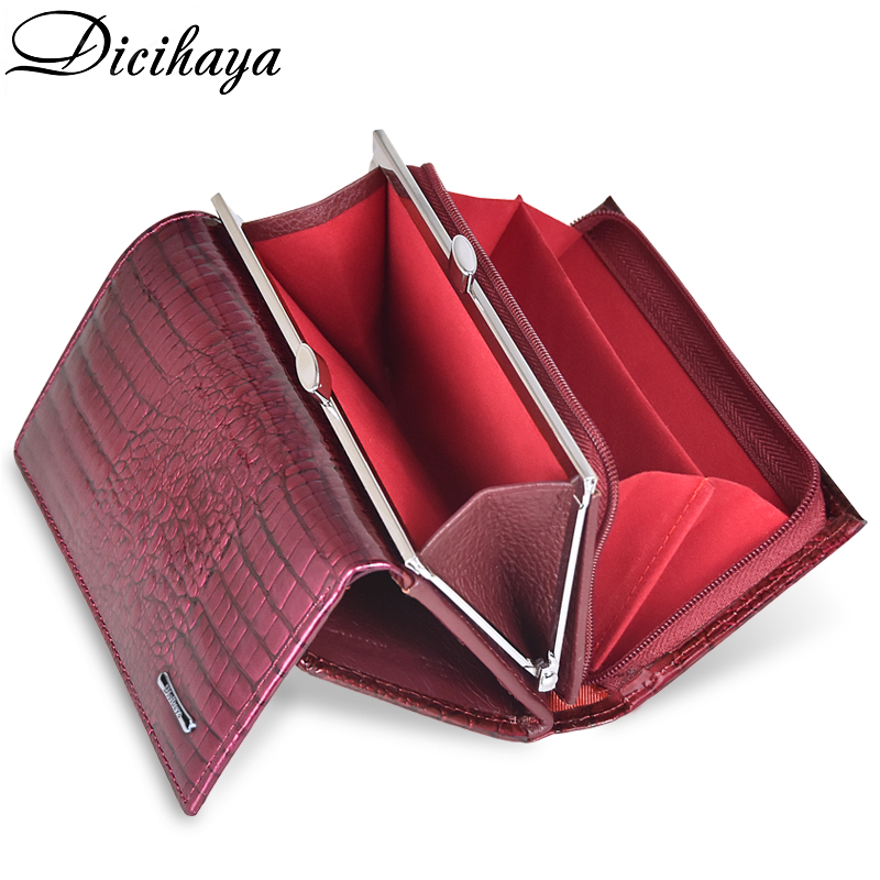 DICIHAYA NEW Genuine Leather Women's Wallet Alligator Short Hasp Zipper Wallet Ladies Clutch Bag Purse Female Luxury Coin Purses