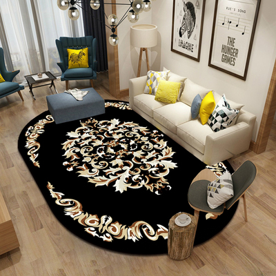 Black Oval Carpet Bedroom Living Room Home Non-slip Mat