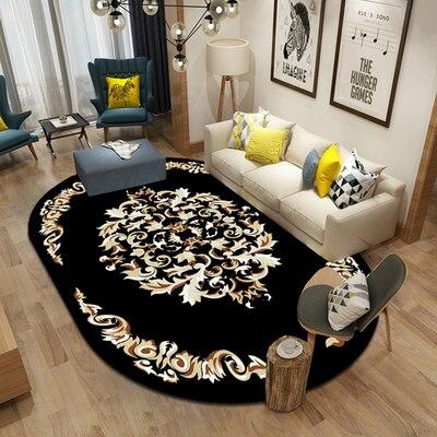 Black Oval Carpet Bedroom Living Room Home Non-slip Mat