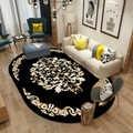 Nero Ovale Tappeto Camera Da Letto Salotto di Casa Non-slip Zerbino