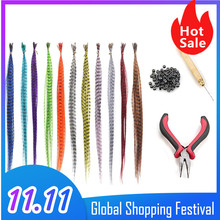 55pcs Multicolor Synthetic Feathers Hair For Hair Extensions DIY Micro Beads Hairpiece Kit Feathers Hair Extensions Tools