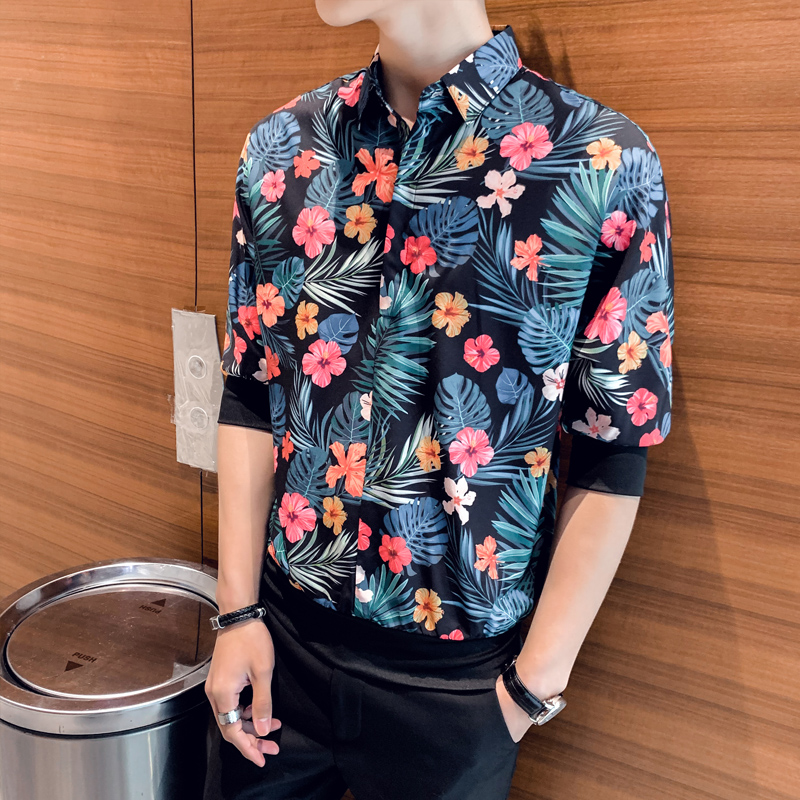 Image 4 - British Style Men Floral Shirts Brand New Summer Loose Shirt Men Half Sleeve Turn Down Collar Streetwear Blouse Homme Hot SaleCasual Shirts   -