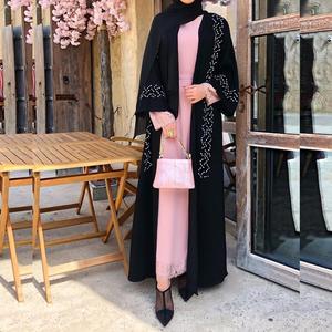 Opened abayas hand made diamond beading muslim dress Muslim abaya peignoir fashion islamic abaya prayer service clothing F1843