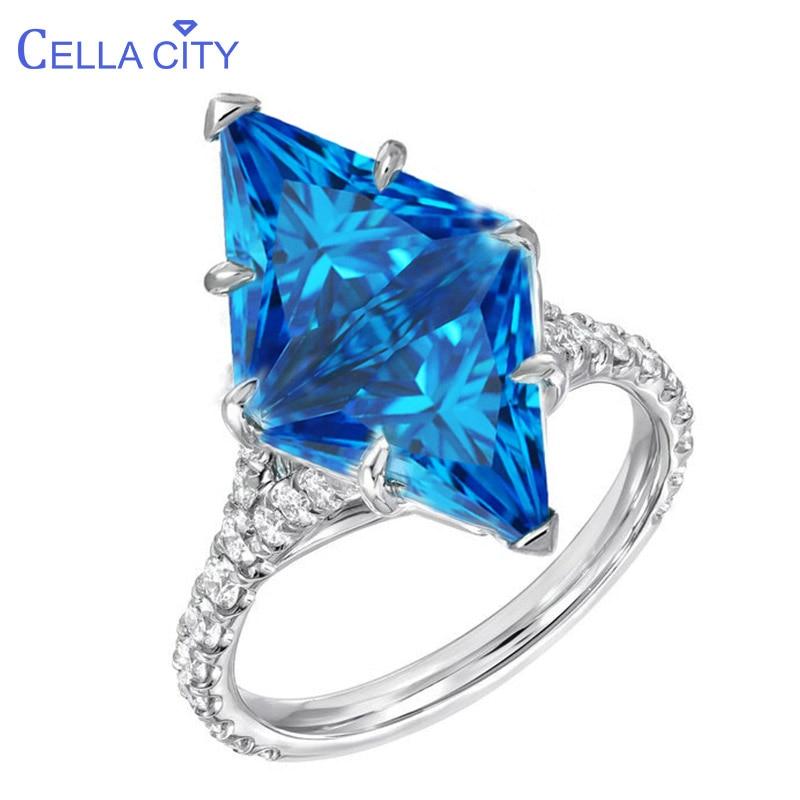 Cellacity Geometry Silver Ring for Women S925 Fine Jewelry Rhombus Gemstones Aquamarine Zircon Exaggerated Design Engagement
