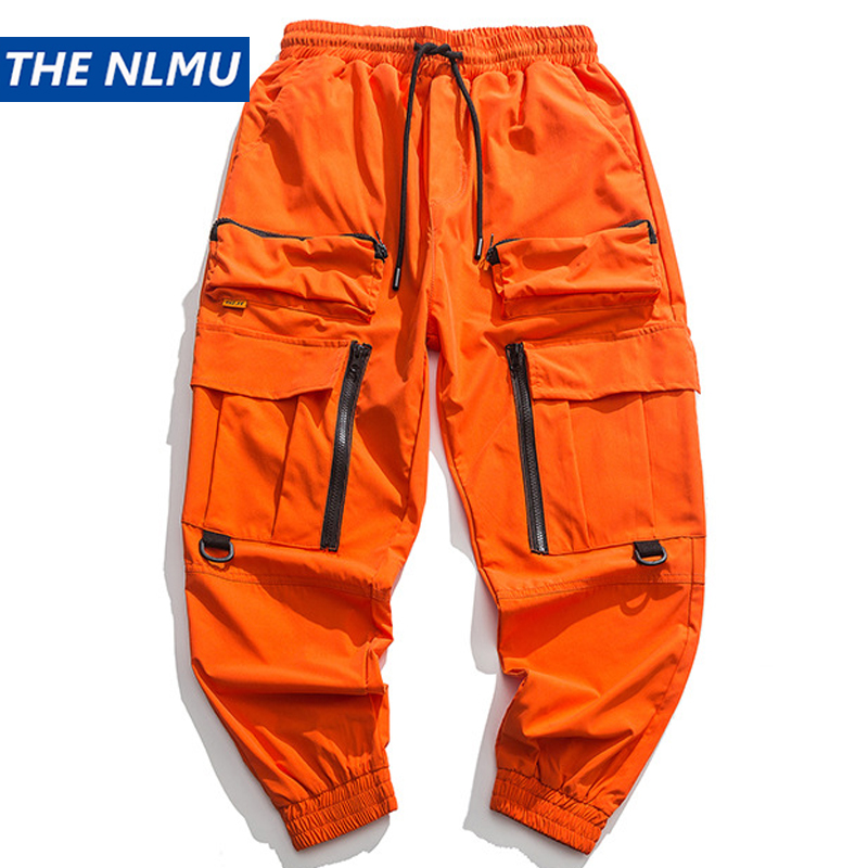 2020 Spring Cargo Pants Men Fashion  Orange Multi Pockets Baggy Tactical Trousers Hip Hop Casual Pant Streetwear WO095