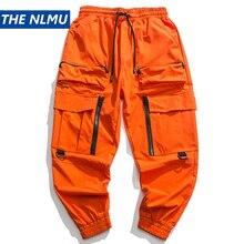 2020 Spring Cargo Pants Men Fashion Orange Multi Pockets Bag