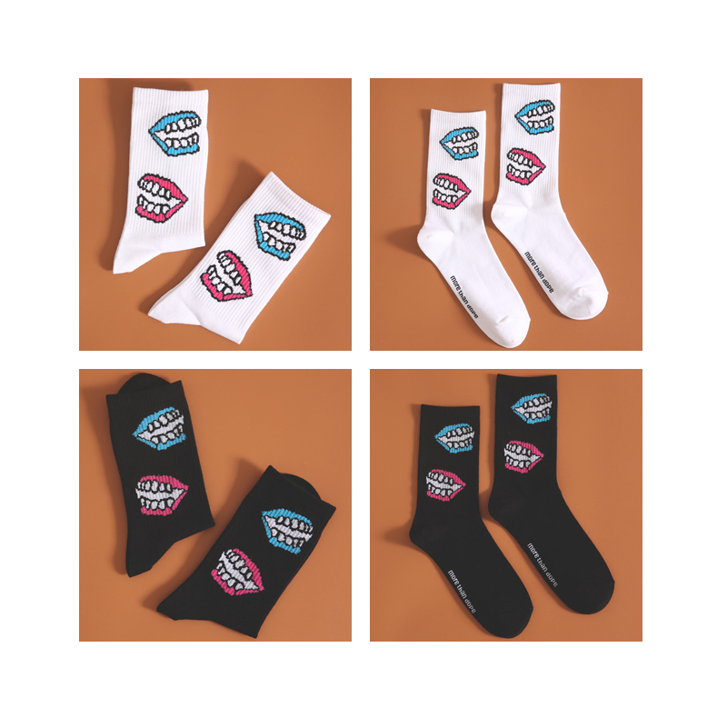 Freeshipping Crew Fashion Socks Gold White Teeth Tooth Braces False Mouth Denture Oral Cavity Facing Dazzle Red Lips Poisoning