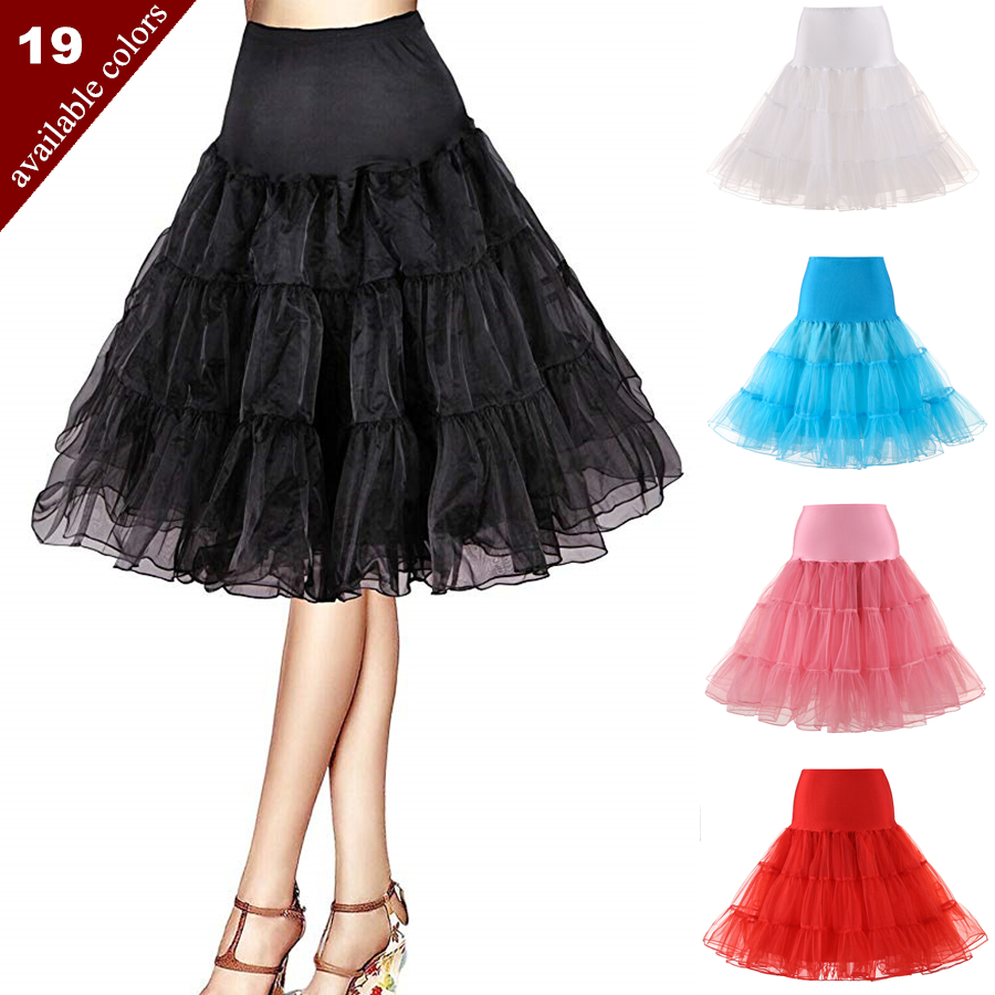 Free Short Organza Halloween Petticoat Lolita Rockabilly Ruffle Vintage Women's 50s Crinoline Tutu Underskirt 26